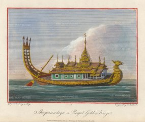 Lt. Col. Symes: Royal Barge. 1800. A hand-coloured original antique copper-engraving. 8 x 6 inches. [SEASp1558]