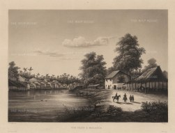 Malacca: Village near Malacca with Europeans on the shore. After Barthlemy Lavergne, artist on the voyage of La Favorite 1829-32.