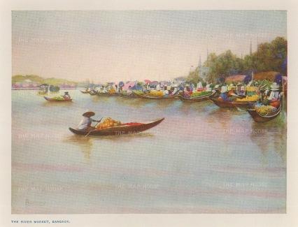 Bangkok: View of the River Market on the Chao Phraya.