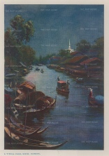 Bangkok: Evening scene on a canal.