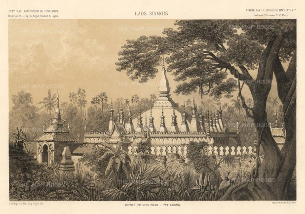 Vietiane: Pha That Luang temple after the drawing by Louis Delaporte during Francis Garnier's expedition into Southeast Asia.The temple was reconstructed after being destroyed by Thai forces and rebuilt using Delaporte's drawings.