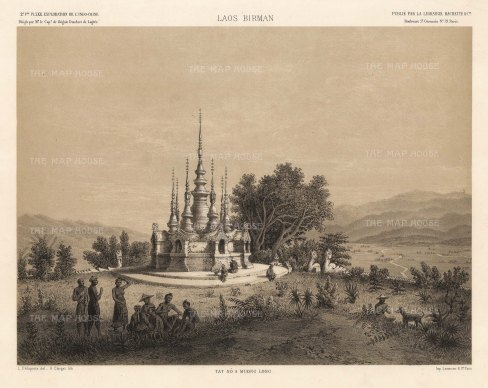 Muong Long:View of the temple after the drawing by Louis Delaporte during Francis Garnier's expedition into Southeast Asia.
