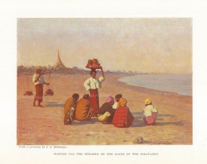 Waiting for the steamer on the banks of the Irrawaddy.After James Raeburn Middleton.