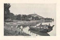 Sagaing: Forshore at Sagaing with boats.