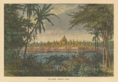 SOLD Angor Thom, Cambodia: Bayon Temple, looking west over the Siem Reap river.