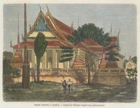 "Garnier: Ayutthaya. 1876. A hand coloured original antique wood engraving. 4"" x 6"". [SEASp1605]"