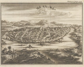 Judia (Ayutthaya): Bird's eye view of the capital on the Chao Phraya river before it was sacked by the Burmese in 1767.