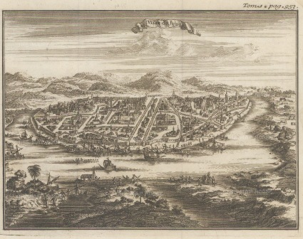 SOLD. Judia (Ayutthaya): Bird's eye view of the capital on the Chao Phraya river before it was sacked by the Burmese in 1767.