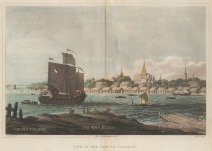 SOLD Rare and important early view of Bangkok from the banks of the Chao Phraya River looking towards Wat Arun.