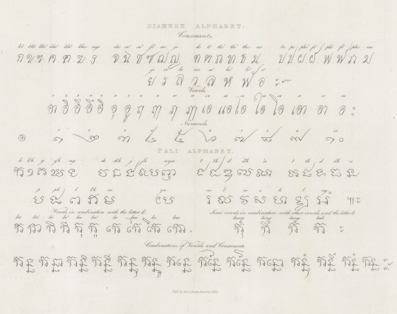 Samples of the Siamese and Pali (a form of Prakrit) Alphabets.