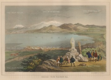Perry: Hakodate, Hokkaido. 1856. A hand-coloured original antique lithograph. 9 x 7 inches [SEASp725]