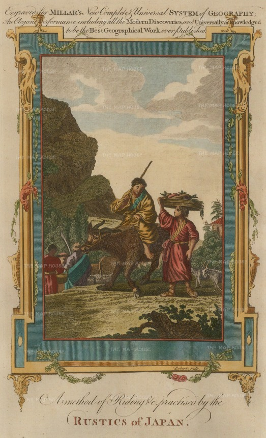 Millar: Japanese dress and custom. 1770. A hand-coloured original antique copper-engraving. 7 x 11 inches. [SEASp727]