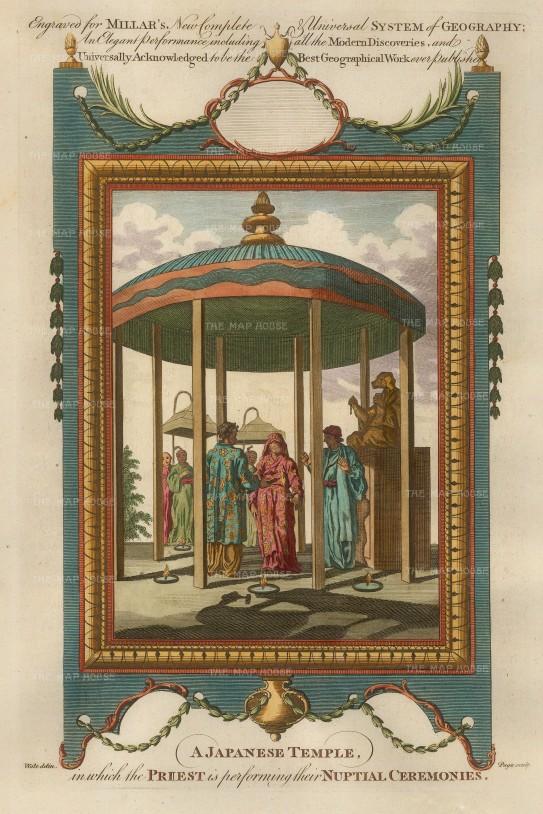 "Millar: Japanese wedding. 1770. A hand coloured original antique copper-engraving. 7"" x 11"". [SEASp728]"