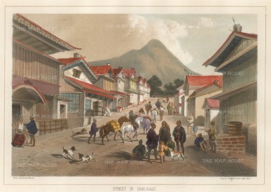 Perry: Hakodate, Hokkaido. 1856. A hand-coloured original antique lithograph. 10 x 7 inches [SEASp840]