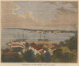 """Brown: Takowan. 1885. A hand coloured original wood engraving. 6"""" x 5"""".[SEASp959]"""