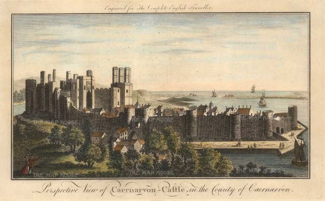 "The English Traveller: Caernarvon Castle. 1773. A hand-coloured original antique copper engraving.12"" x 8"". [WCTSp435]"