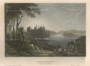 "Meyer: Conway Castle. 1836. A hand-coloured original antique steel engraving. 6"" x 5"". [WCTSp466]"