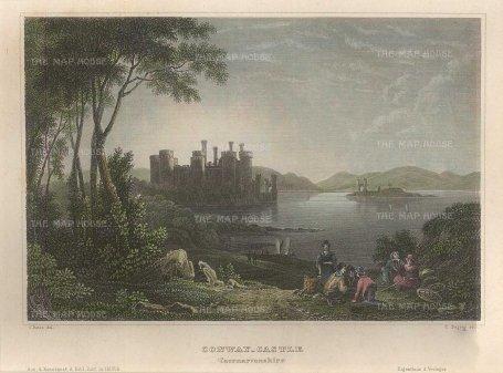 "Meyer: Conway Castle. 1836. A hand coloured original antique steel engraving. 6"" x 5"". [WCTSp466]"