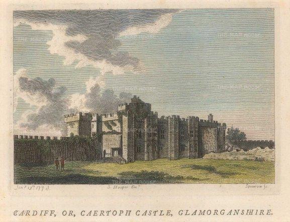 "Hopper: Cardiff Castle. A hand-coloured original antique copper engraving. 6"" x 4"". [WCTSp468]"