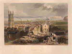 "Bartlett: Cardiff. 1841. A hand-coloured original antique steel engraving. 6"" x 8"". [WCTSp472]"