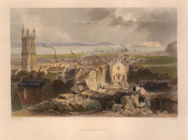 "Bartlett: Cardiff. 1841. A hand-coloured original antique steel engraving. 6"" x 8"". [WCTSp472]"