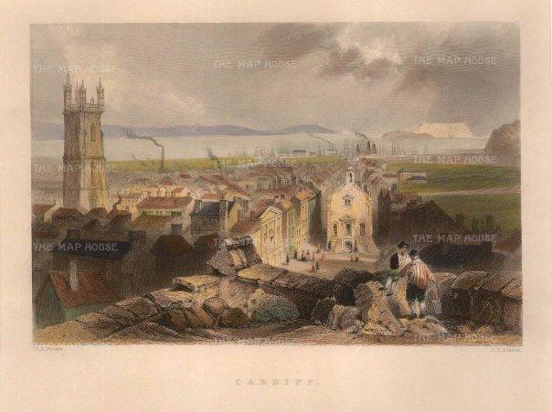 "Bartlett: Cardiff. 1841. A hand coloured original antique steel engraving. 8"" x 6"". [WCTSp472]"