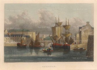"Radclyffe: Cardigan. 1836. A hand-coloured original antique steel engraving. 5"" x 4"". [WCTSp475]"