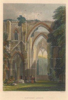 "Roscoe: Tintern Abbey. 1836. A hand-coloured original antique steel engraving. 5"" x 4"". [ WCTSp485]"