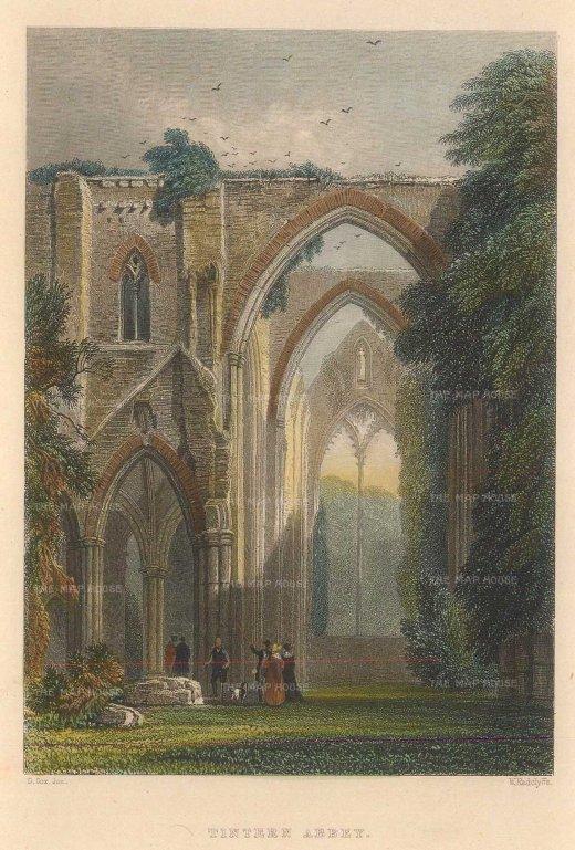 "Roscoe: Tintern Abbey. 1836. A hand coloured original antique steel engraving. 4"" x 5"". [WCTSp485]"