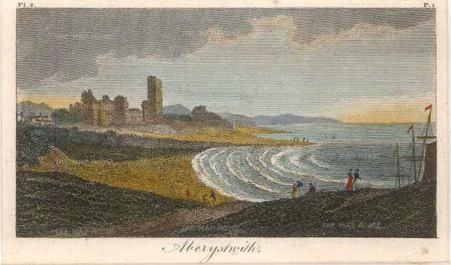 "Anon: Aberystwith. c1810. A hand coloured original antique steel engraving. 4"" x 3"". WCTSp487w"