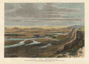 The Illustrated London News: Helmund Valley. A hand-coloured original antique wood-engraving. 12 x 7 inches. [AFGp143]