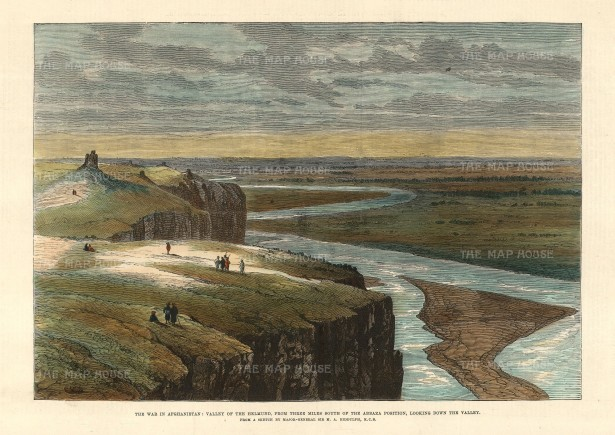The Illustrated London News: Helmund Valley. A hand-coloured original antique wood-engraving. 12 x 7 inches. [AFGp144]