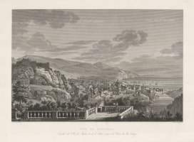 Funchal, Madeira: Panoramic view of Funchal, occupied by the British during the Napoleonic Wars, and returned to Portugal in 1814.