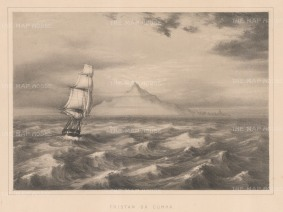 Tristan da Cunha: South Atlantic. Remote view of the island from the sea.