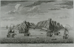 St. Helena:Panoramic view of the port visited by the English since the end of the the 16th century and controlled by the English East India Company from 1658 to 1815.