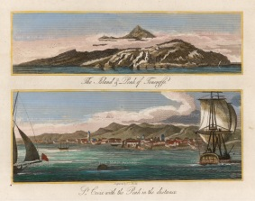 St Croix and Teneriffe: Double view of the town and the peak.