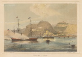 St. Helena: Jamestown: Panoramic view of the harbour with Commodore Perry's steam frigate USS Mississippi in foreground.