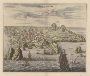 Azores:Tercera: Panorama of the harbour of Angra and the Portuguese fort of San Sabastian, based upon Johann Theodore de Bry's view of 1601