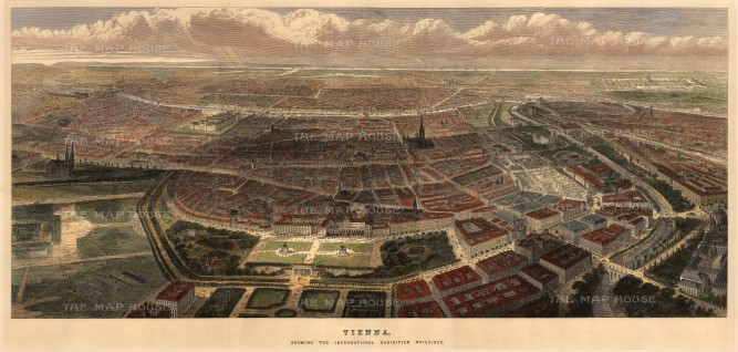 Bird's eye view of the city of Vienna during the World Fair of 1873.
