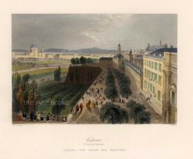 """Bartlett: Vienna. c1840. A hand coloured original antique steel engraving. 8"""" x 7"""". [AUTp224]"""