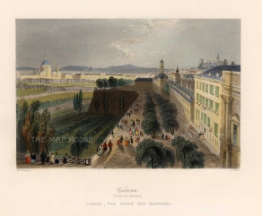 "Bartlett: Vienna. c1840. A hand coloured original antique steel engraving. 8"" x 7"". [AUTp224]"