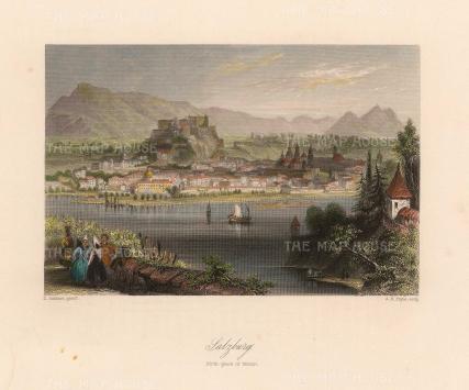 "Bartlett: Salzburg. c1840. A hand coloured original antique steel engraving. 8"" x 7"". [AUTp226]"