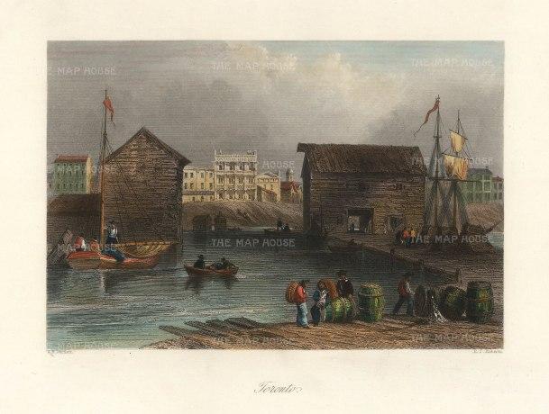 Bartlett: Toronto. 1842. A hand-coloured original antique steel-engraving. 8 x 7 inches. [CANp641]