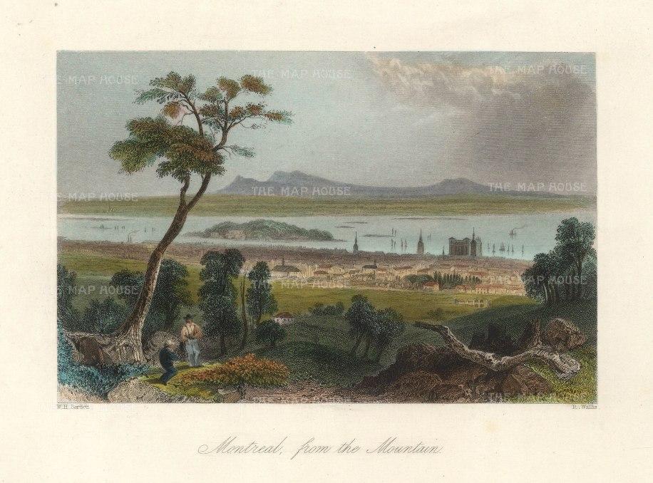 Bartlett: Montréal. 1842. A hand-coloured antique steel-engraving. 8 x 7 inches. [CANp643]