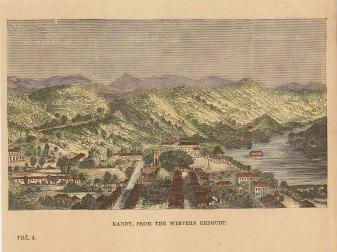 Anon: Kandy, Sri Lanka. Circa 1870. A hand-coloured original antique wood-engraving. 6 x 4 inches. [INDp1148]