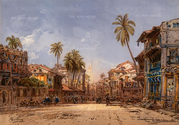 Hildebrandt: Malabar Hill, Mumbai. 1885. An original antique chromo-lithograph. 19 x 13 inches. [INDp1302]