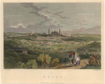 Mackenzie: Delhi. Circa 1840. A hand-coloured original antique steel-engraving. [INDp1353] SOLD