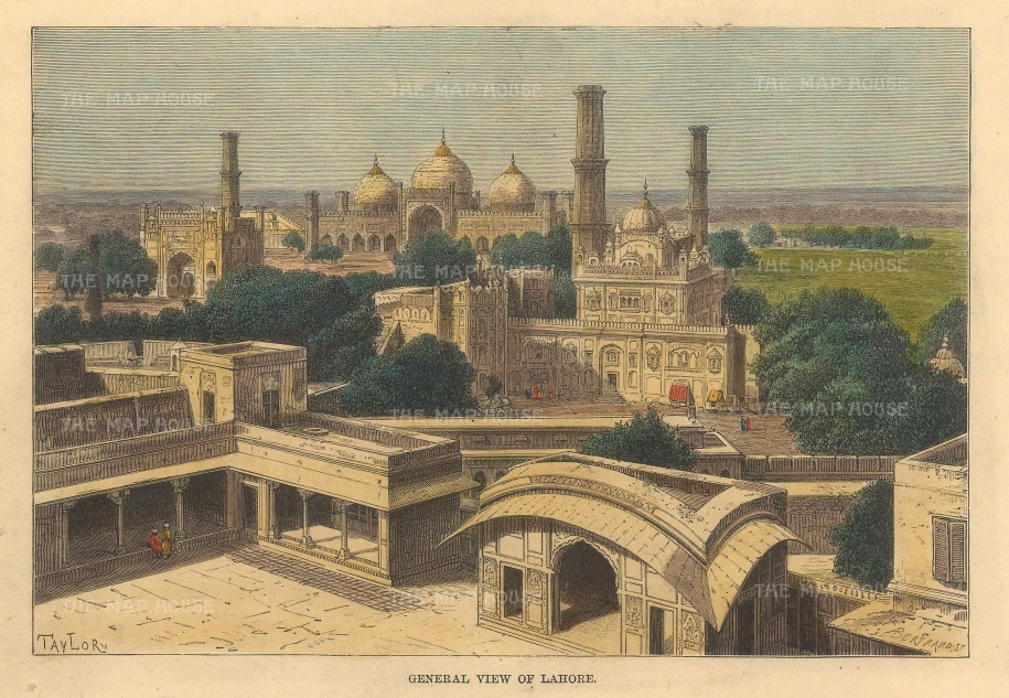Reclus: Lahore. 1894. A hand-coloured original antique wood-engraving. 8 x 6 inches. [INDp1392]