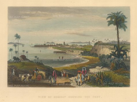 Allom: Mumbai. Circa 1840. A hand-coloured original antique steel-engraving. 8 x 6 inches. [INDp1398]