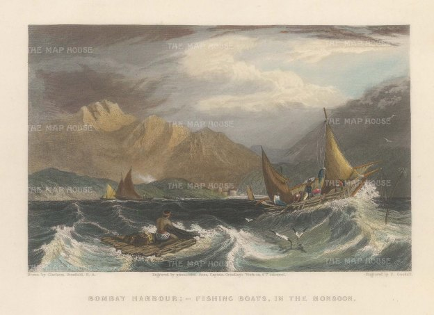 White: Mumbai Harbour. 1838. A hand-coloured original antique steel-engraving. 8 x 6 inches. [INDp1403]